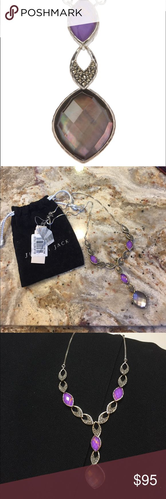 "NWT Judith Jack purple turquoise necklace Judith Jack - Sterling Silver Purple Turquoise, Swarovski Marcasite & Black Mother of Pearl Pendant Necklace. Two options 10"" or 12"" length judith jack Jewelry Necklaces"