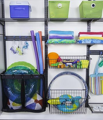 Pool Organization Ideas pool toy storage bin allows toys to be out of the way and air dry during Tame Pool Noodles And Floats By Adding Baskets To Your Garage Organization System Organizedliving