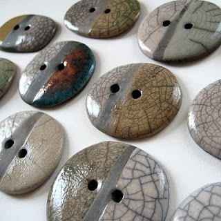 Raku buttons. these are really cool and would look great on a hand knitted sweater