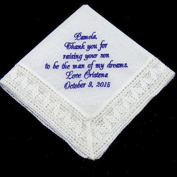 Mother of the Groom Handkerchief, Wedding Handkerchief by EllaWinston Get yours here https://www.etsy.com/listing/233417844/mother-of-the-groom-handkerchief-wedding $19.89 #motherofthegroomgift #weddinghandkerchief