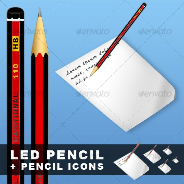 Detailed lead pencil + icons
