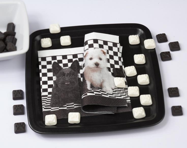 Paper + Design napkin - Black & white terrier dogs