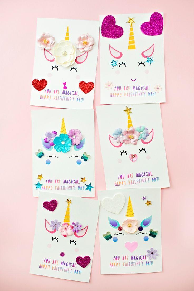 Diy Unicorn Valentine Cards With Images Unicorn Birthday Cards