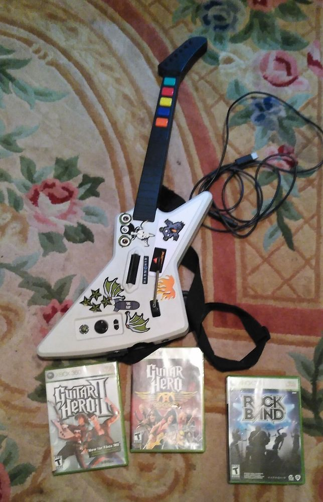 XBOX 360 Guitar Hero Gibson XPlorer Wired Controller AEROSMITH ROCKBAND GAME