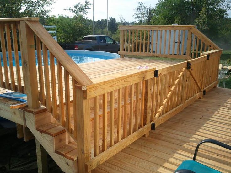 Love the gate built into this deck to keep our kiddos safe and out of the water when the pool is closed.