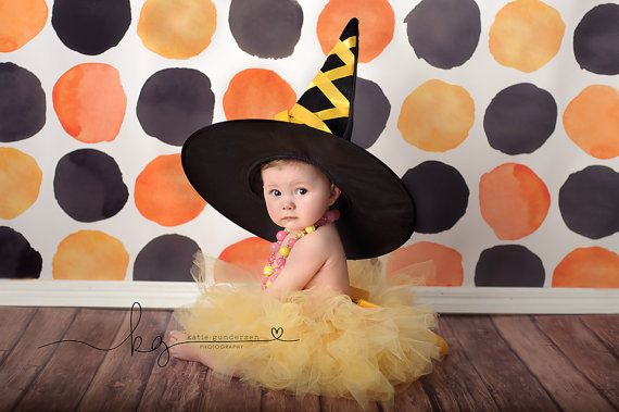 8ft x 8ft Halloween Photography Backdrop - Orange and Black Dots Photo Background - Holiday Back Drop - Exclusive Design - Item 2136