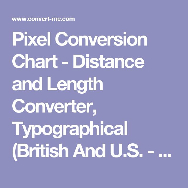 Pixel Conversion Chart - Distance and Length Converter, Typographical (British And U.S. - ATA System) ** pixel: 1