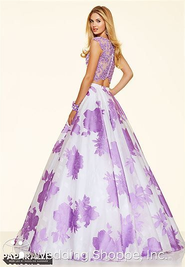 A dramatic floral print skirt with lace crop top. Paparazzi by Mori  Lee Prom Dress 98086