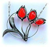 Náhrdelníky - Červené tulipány - 4059292_