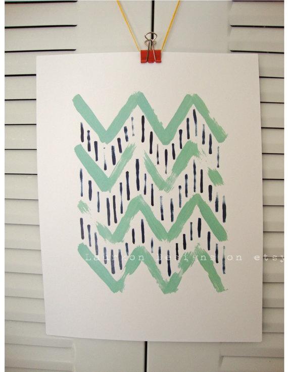 Chevron Patterning Original Painting Print #etsy $15.00