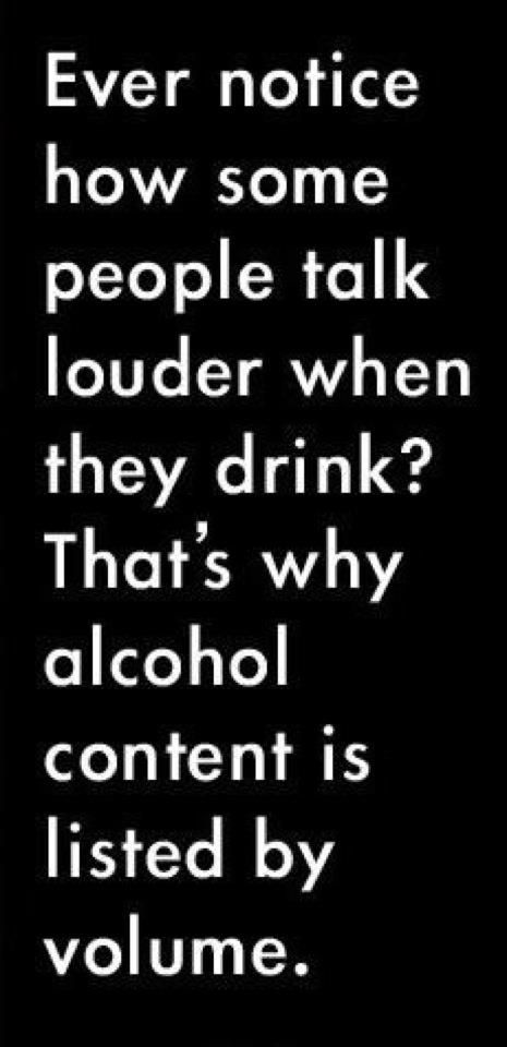 Wine Volume.  Ever notice how some people talk louder when they drink?  That's why alcohol content is listed by volume.  :)