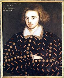 Christopher Marlowe - Baptised 26 Feb. 1564   d: 30 May 1593 in Deptford, England.   English Dramatist & Poet  (Anon. portrait in Corpus Christi College, Cambridge, believed to be Christopher Marlowe).