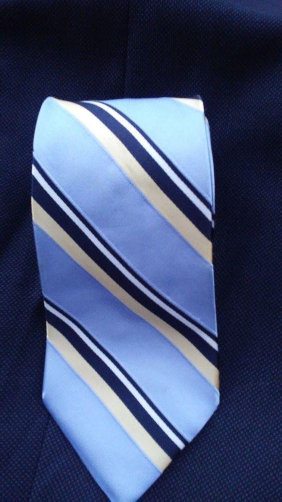 Tommy Hilfiger Men's Designer Dress Suit Necktie Gold Blue Striped Silk Neck Tie #TommyHilfiger #Tie