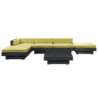 $1500 at Overstock.com Laguna Outdoor Rattan 6-piece Set in Espresso with Peridot Cushions | Overstock™ Shopping - Big Discounts on Modway Sofas, Chairs & Sectionals