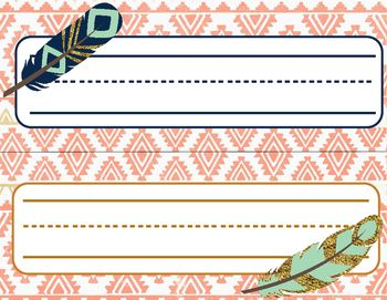 Feather Boho Desk Name Tags - coral, navy, mint, gold  Love these desk name tags for a boho themed classroom!!