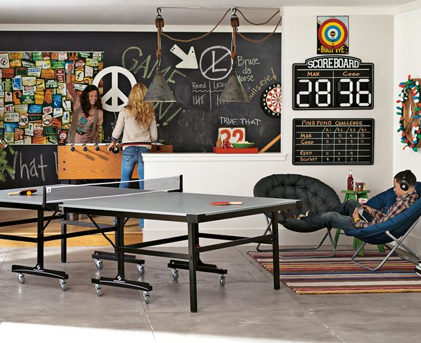 It would be so fun to have a game room basement.                                                                                                                                                                                 More