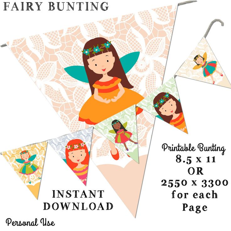 Printable Bunting - Fairy  Bunting -8.5 x 11 -Instant Download-Pretty Room Decorations by JustDigitalPapers on Etsy
