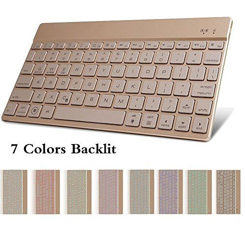 Backlit Bluetooth Keyboard,TechCode Slim Wireless with 7 Colors Backlight for Notebook Computer,iPad Pro 9.7/12.9/Air/Air 2/mini/mini2/mini3/mini4/iPad 4 3 2 and all OS/Android/Windows System Tablet
