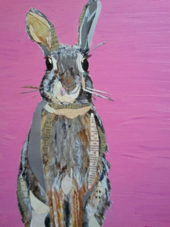 bunny on pink...oh how I want this! It tugs my heart strings with so much cute! #bunny #art