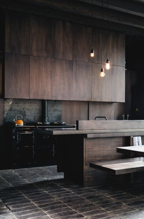 sleek modern brown wood kitchen cabinets look stylish