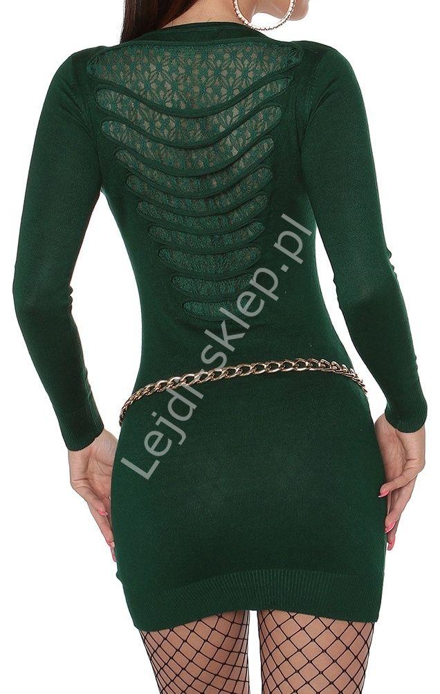 Zielona sukienka dzianinowa z koronką i rozcięciami  607