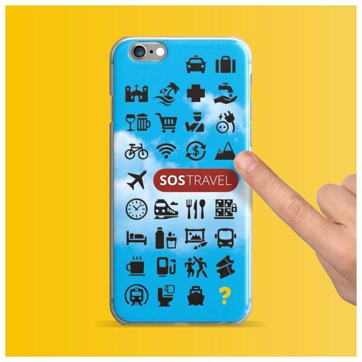 Capa de Celular do Viajante - SOS Travel - Ícones de Viagem