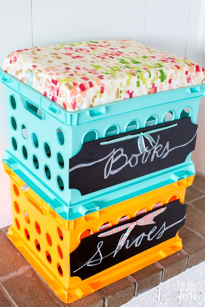 Stackable storage using plastic storage crates. Perfect for dorm room decor.