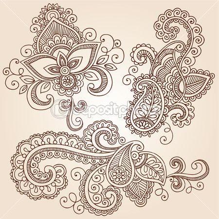 henna mehndi tattoo doodles vector design elements