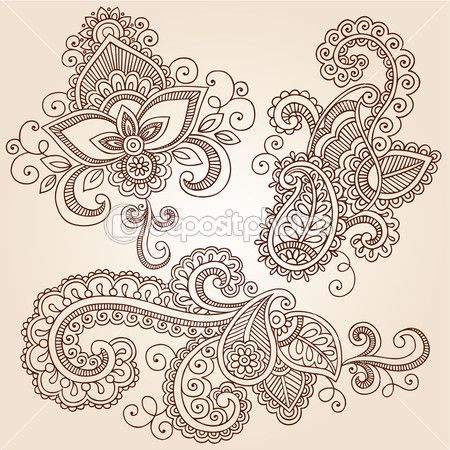 Henna Mehndi Tattoo Doodles Vector Design Elements