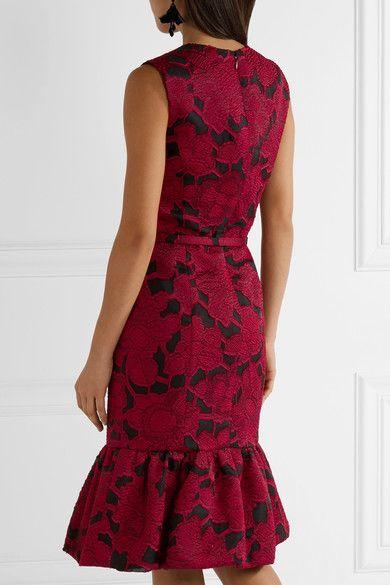 Oscar de la Renta - Belted Jacquard Dress - Claret - US10