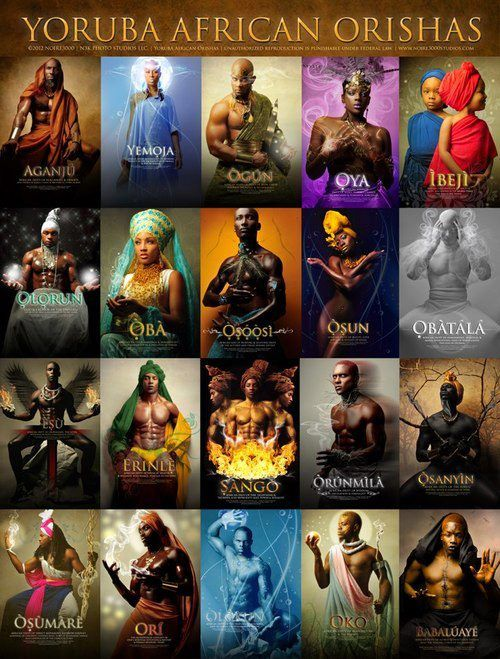 African mythology ..Yoruba gods..Also used in different forms of voodoo religions, but under different names.