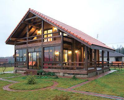 Средиземноморское шале в белорусской глубинке | Дома из оцилиндрованного бревна | Журнал «Деревянные дома»