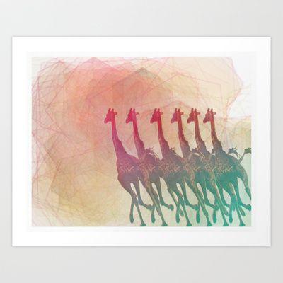 giraffes running into a spectrum Art Print by MAKE ME SOME ART - $15.00