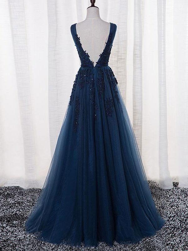 e852dbcfff3 Elegant Dark Navy Applique Beaded Prom Dress