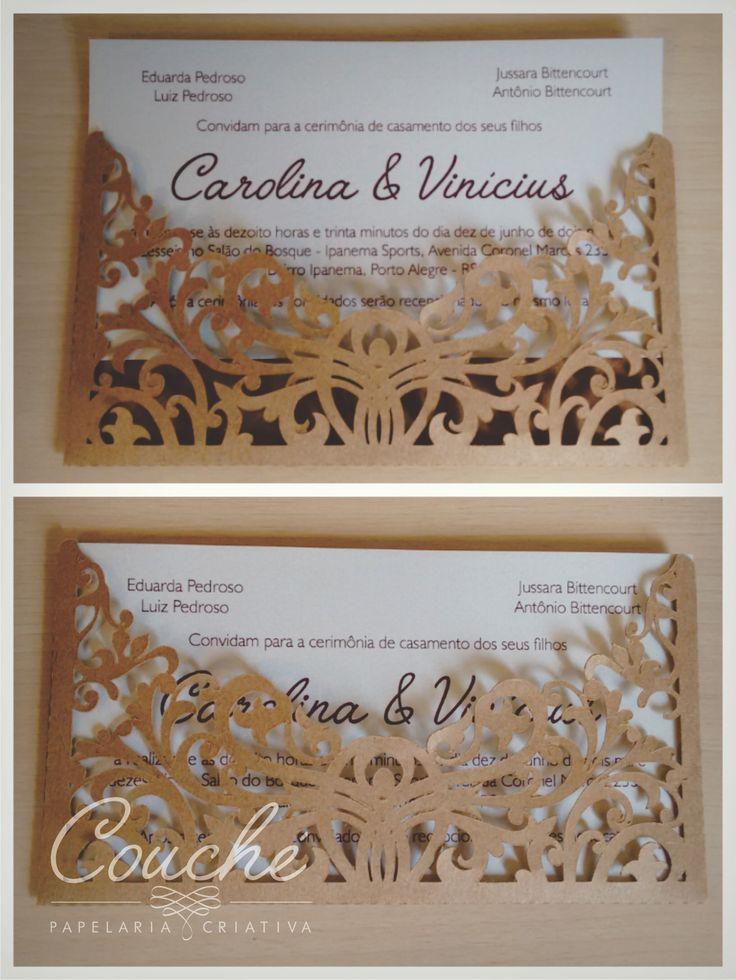 Convite de casamento em papel aspen perolado 250g e envelope papel kraft.  couchecriativa@gmail.com