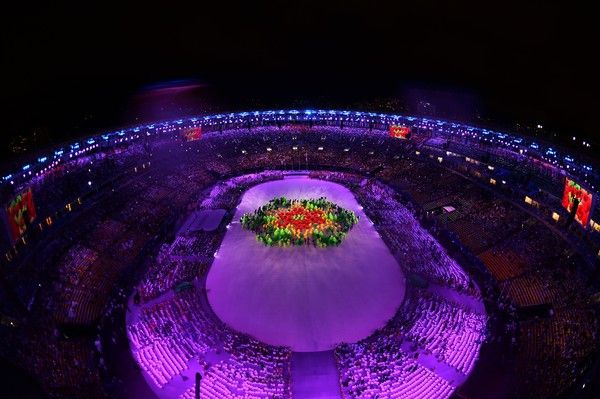 This picture shows an overview of the closing ceremony of the Rio 2016 Olympic…