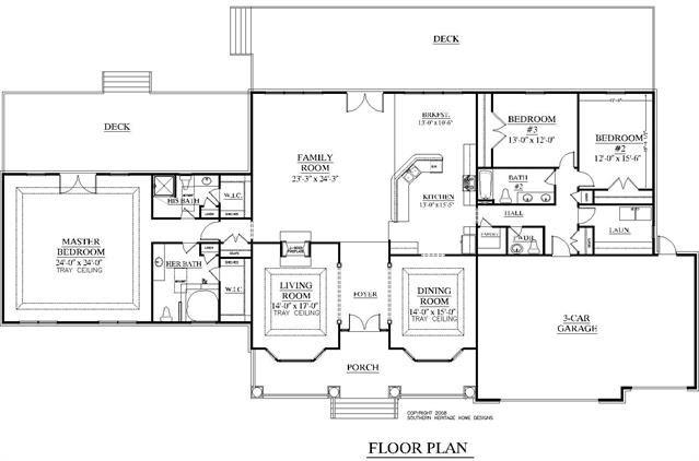 House Plan 3349 B Wade Floor Plan Large 1 Story Rambler