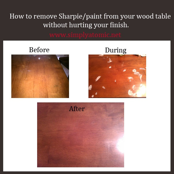 How to remove sharpie or paint off your wood table without for How to green your home