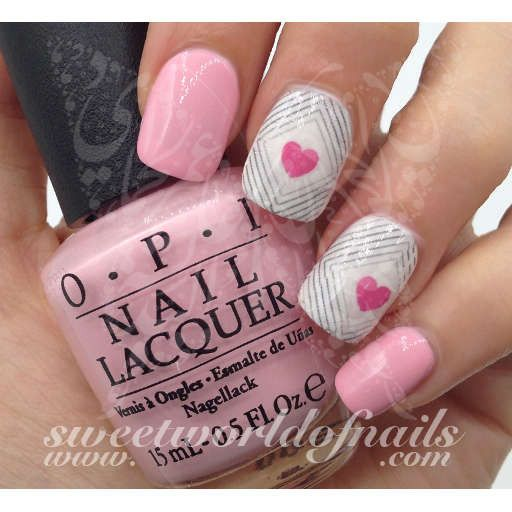 Valentine's Day Nail Art Pink Heart in the middle with Lines