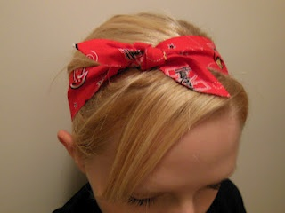 My no-sew headband tutorial {like the look but not the method for me...need to make a cute bandana headband like this though}
