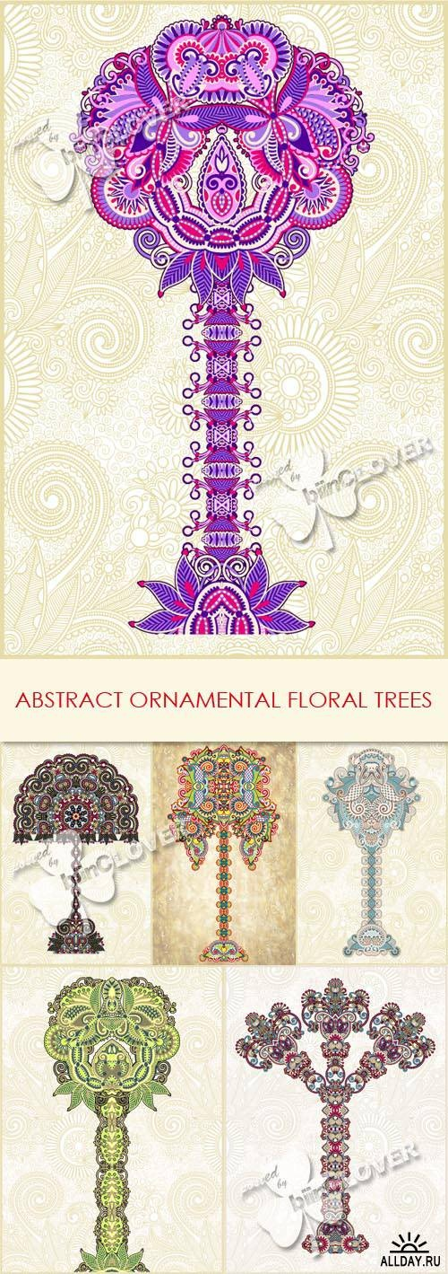 Abstract ornamental floral trees