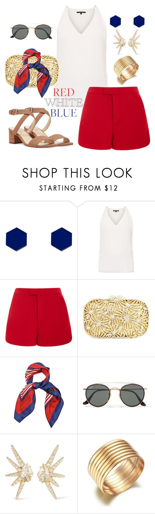 """Red White & Blue"" by tulips04 ❤ liked on Polyvore featuring Wolf & Moon, Kobi Halperin, Lela Rose, Dolli, Ray-Ban, Alexis Bittar, Nine West, redwhiteandblue, fourthofjuly and contestentry"