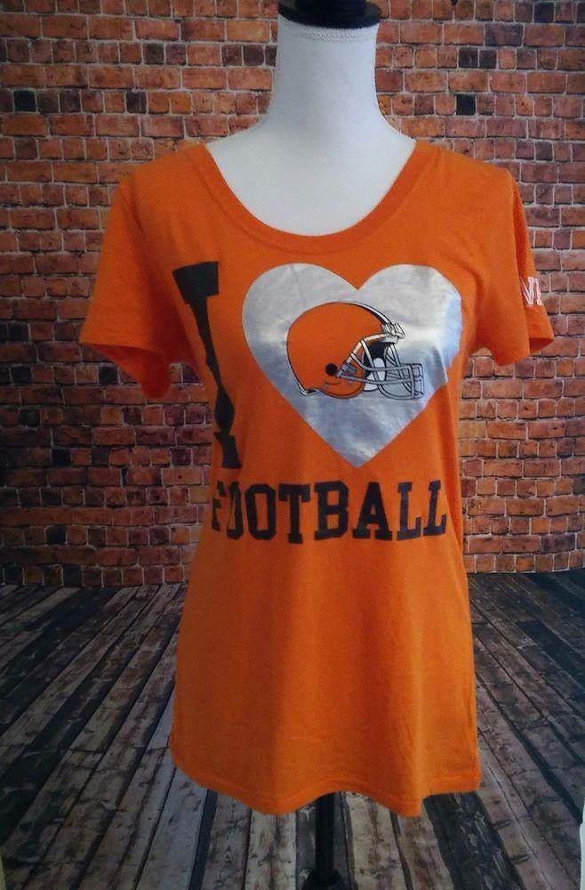 Victoria's Secret PINK LARGE NFL I Love Football Cleveland Browns RARE T-shirt #VictoriasSecret #GraphicTee
