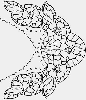 Схема вышивки ришелье или выжигания на ткани.