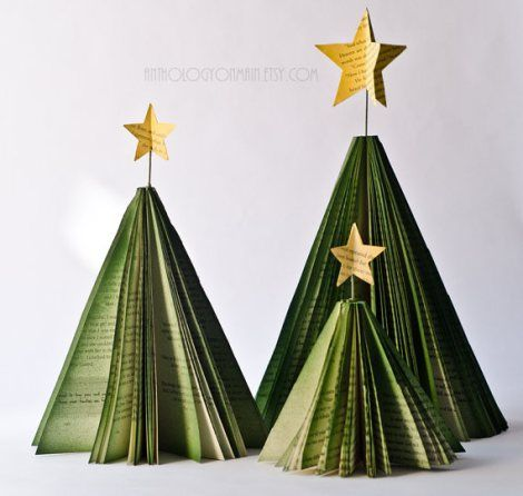 Folded. Painted book page Christmas trees..I've done this in pumpkins for Halloweem