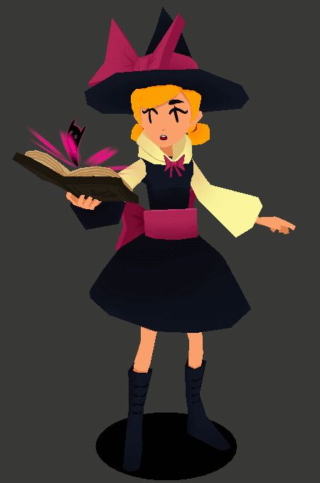 robopolis:  Trying to summon cats. Quick redo of my lowpoly witch girl from before. My life is low poly right now.