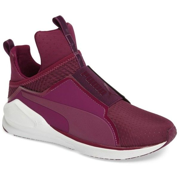 PUMA Fierce High Top Sneaker ($60) ❤ liked on Polyvore featuring shoes, sneakers, purple, pointed-toe sneakers, high top shoes, purple shoes, puma trainers and training shoes