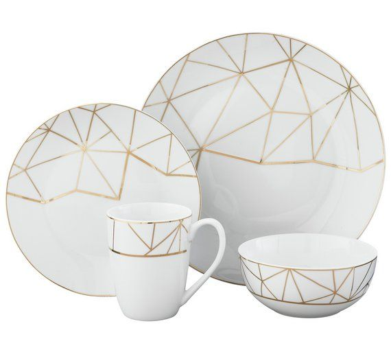 Buy Heart of House 8 Piece Geo Metallic Porcelain Dinner Set at Argos.co.uk, visit Argos.co.uk to shop online for Crockery, Tableware, Cooking, dining and kitchen equipment, Home and garden