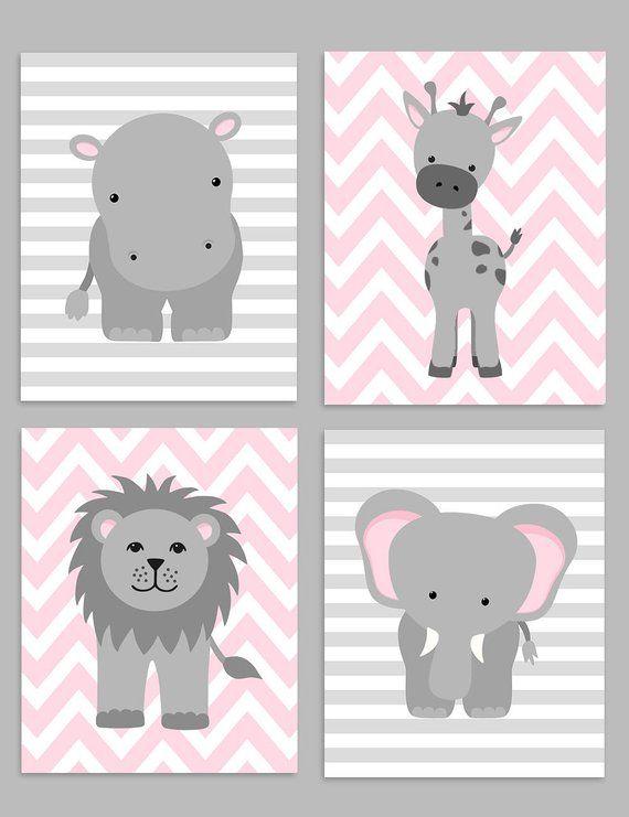 Zoo Kinderzimmer Dekor, grau und rosa Kindergarten