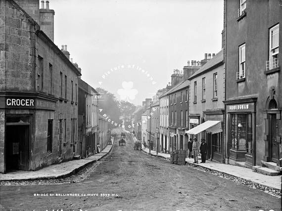 Bridge Street Ballinrobe County Mayo Ireland ca. 1860 ANTIQUE